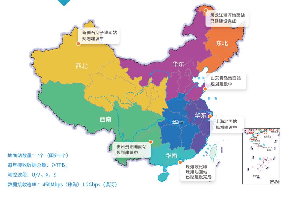 6个地面站,分别分布于西北,华北,东北,西南,华南,华东区域,每个地面